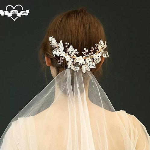 Lovely Handmade Gold & White Bridal Comb