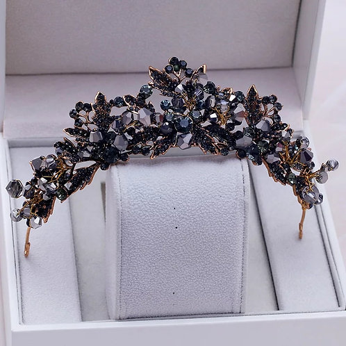Stunning Gold & Black Crystal Baroque Bridal Tiara
