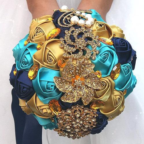 Beautiful Handmade Gold & Crystal Wedding Bouquet