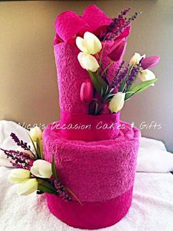 6 pc Wedding Towel Cake