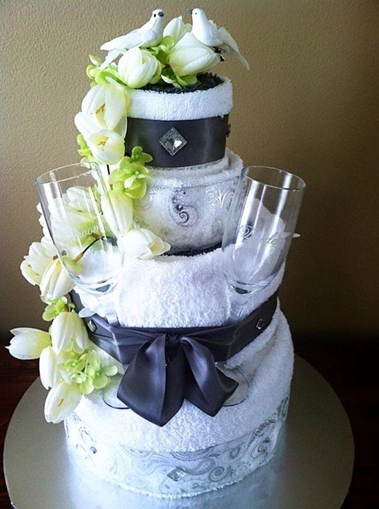 6 pc Wedding Towel Cake