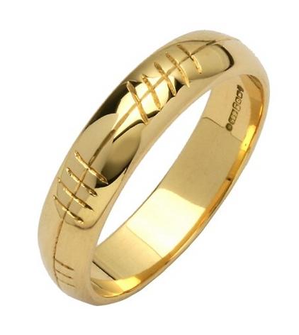Ogham Wedding Band Engraved