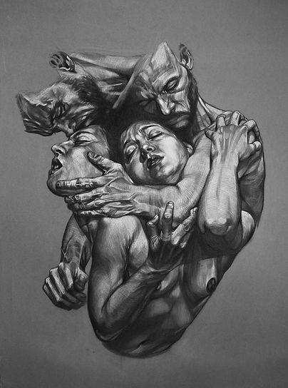 In the confines of fear_charcoal on pape