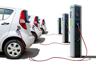 Many electric cars  on charging station isolated on white, electric car fleet on charger.j