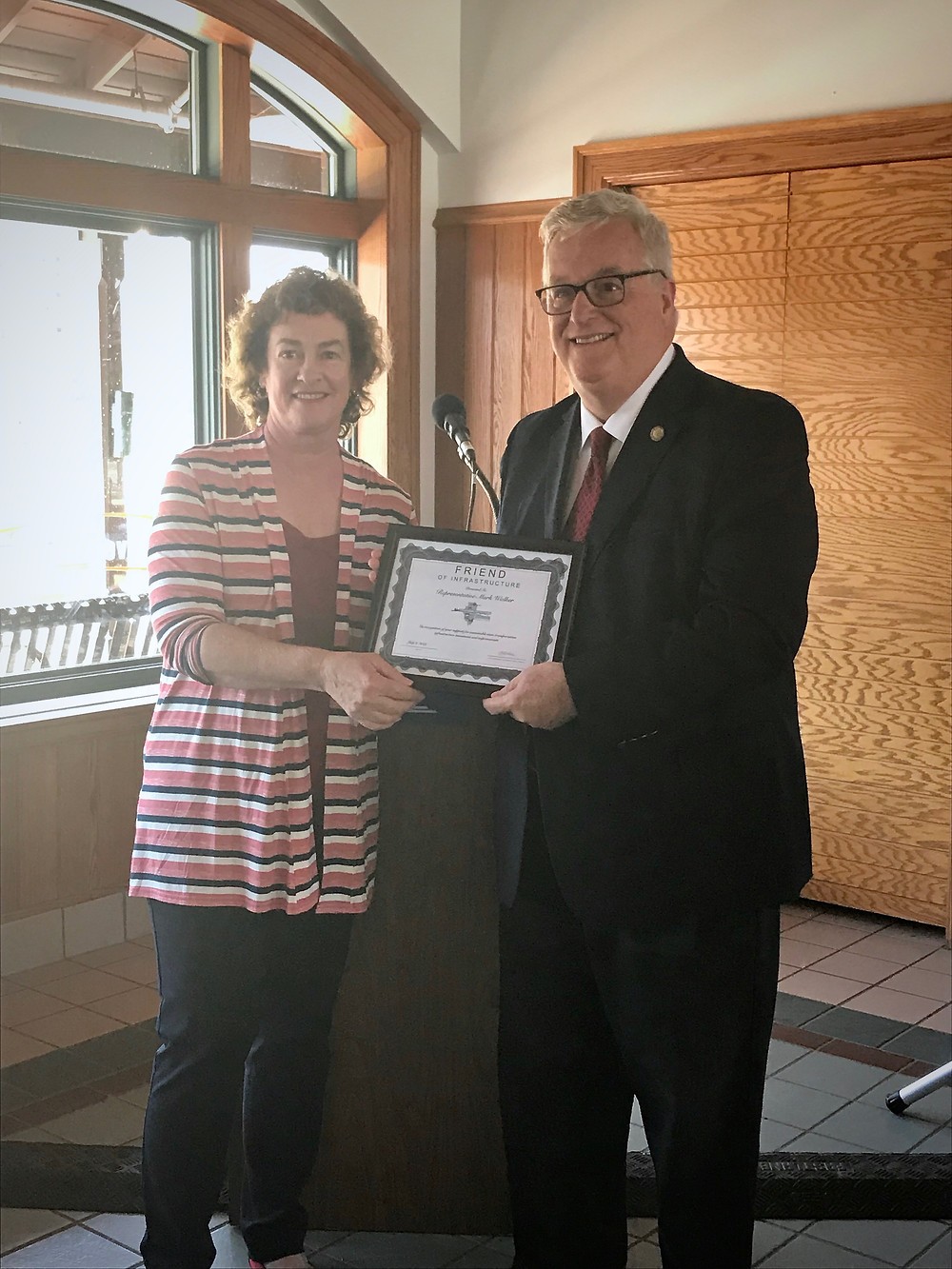 State Rep. Mark Walker receives the Friend of Infrastructure Award