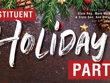 Rep. Walker, Sen. Gillespie Invite Residents to Constituent Holiday Party, Upcoming Events