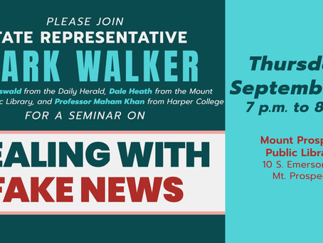 "State Rep. Walker to Host ""Fake News"" Media Literacy Seminar with Daily Herald, Media Experts"
