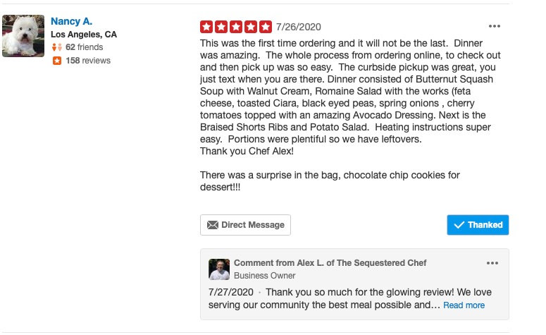 Yelp Review for The Sequestered Chef