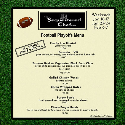 Football Menu for Weekends