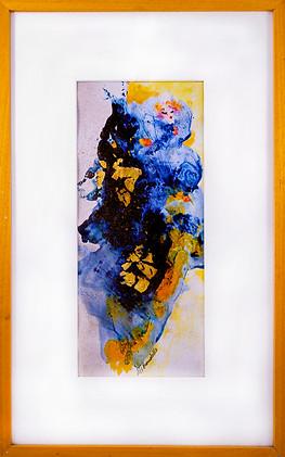 Acrylique + collage de feuilles d'Or (41cm/65cm)  Crédit photo : ©Fabien Licata Photo-Graphiste