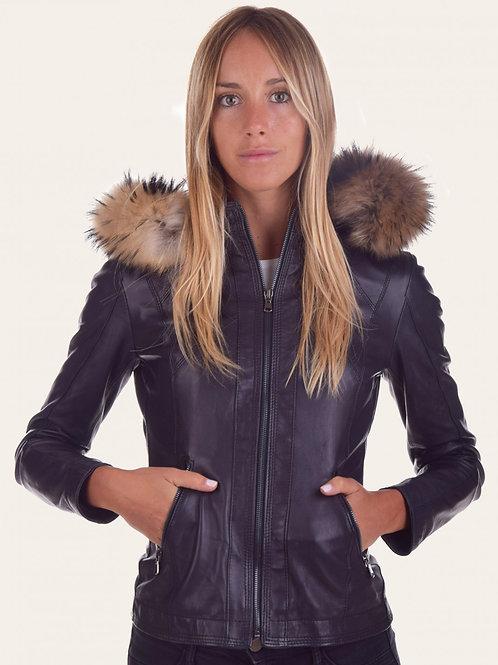 Sofia Hood Fur Leather Jacket