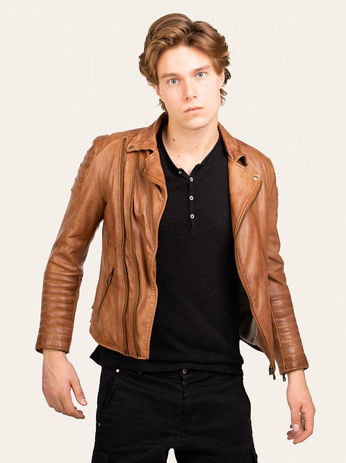 Matteo Gold Vintage Leather Jacket