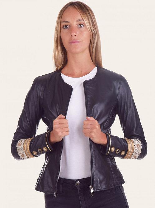Irene Gold Stone Leather Jacket