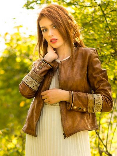 Irene Vintage Stone Leather Jacket
