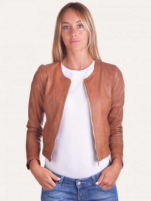 Irene Gold Short Vintage Leather Jacket