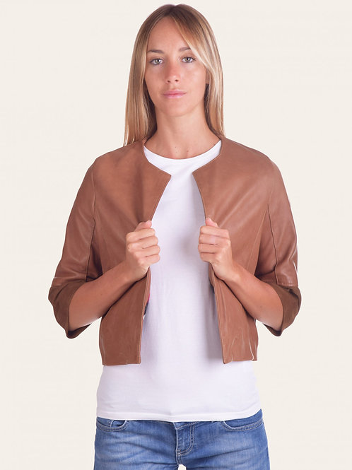 Two-tone Accenno Leather Jacket