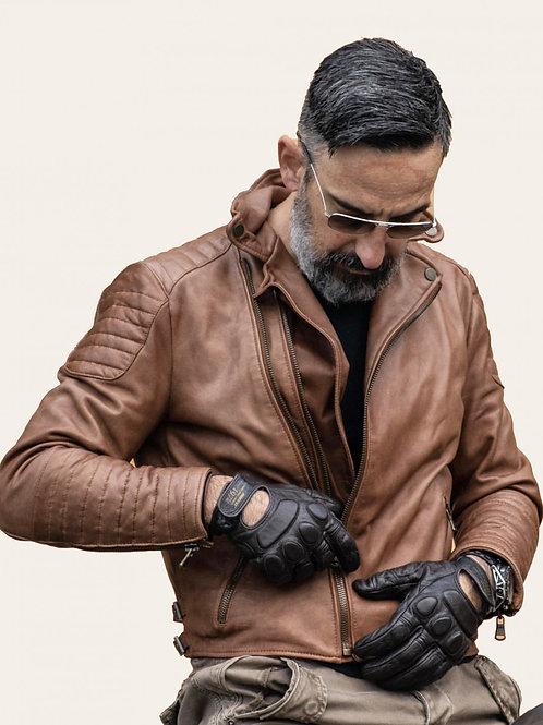 Matteo Gold Vintage Biker Leather Jacket