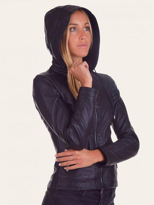 Sofia Hood Leather Jacket