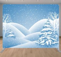 Blue snow tree backdrop