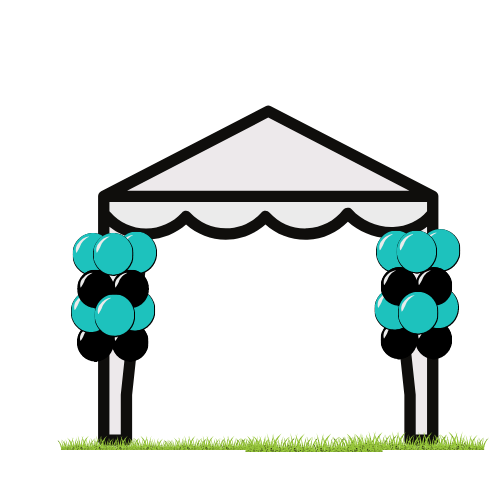 Tent with balloons
