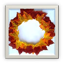 These wooden mini Fall Wreaths are about 7 inches in diameter and feature fabric or cardstock leaves that the kids use to create their works of art.