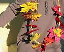 Realistic fabric Autumn leaves adorn these colorful fall necklaces that kids will enjoy making!