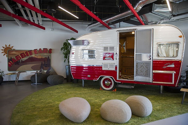 a Matador Red 2015 Reissue of the Shasta Airflyte 1961 model is included n the design of the Denver GoogleHeadquarters, opened in 2018.