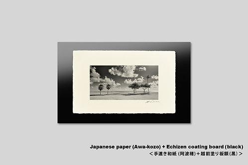 手漉き和紙,インテリアフォト,ハワイ,風景写真,海,ビーチ,南国,ヤシの木,トロピカル,モノクロ,額装,アート,壁掛け,アートポスター,おしゃれ