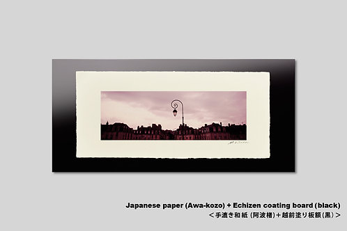 フランス ロワール ジャックダニエル橋からの街並。手漉き和紙額装