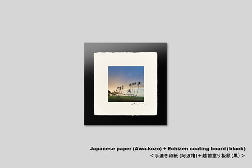 ハワイ,写真,インテリア,手漉き和紙,風景,海,ビーチ,南国,ヤシの木,トロピカル,リゾート,正方形,和室,アートフレーム,壁掛け,アートポスター,おしゃれ,額装,プレゼント
