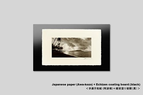 写真,インテリア,手漉き和紙,ハワイ,海,ビーチ,南国,ヤシの木,トロピカル,オールドハワイアン,アートフレーム,壁掛け,アートポスター,和室,おしゃれ,額装,夜明け,壁飾り,装飾