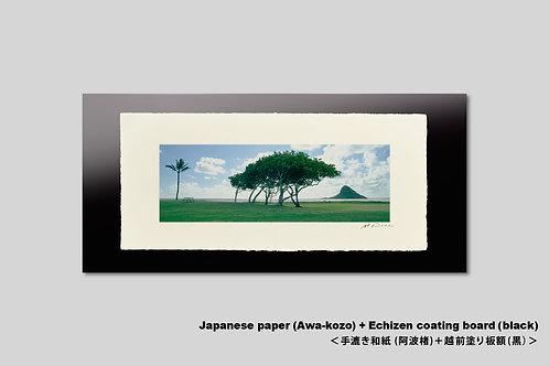 手漉き和紙,インテリアフォト,ハワイ,風景写真,海,ビーチ,南国,ヤシの木,アート,壁掛け横長,,アートポスター,おしゃれ,新築祝い,プレゼント,和室