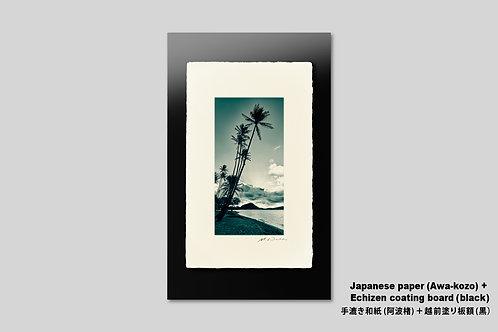 写真,インテリア,手漉き和紙,ハワイ,海,ビーチ,南国,ヤシの木,トロピカル,オールドハワイアン,リゾート,アートフレーム,壁掛け,アートポスター,おしゃれ,額装,夜明け,新築祝い,プレゼント,壁飾り,装飾