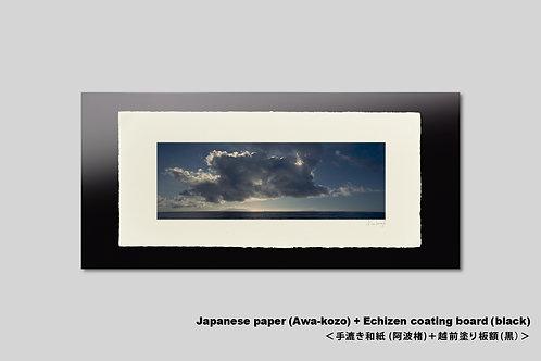 手漉き和紙,写真,風景,海,インテリアフォト,夏,水平線,雲,おしゃれ,アートフレーム,壁掛け,額装,横長,和室,アートポスター,壁飾り