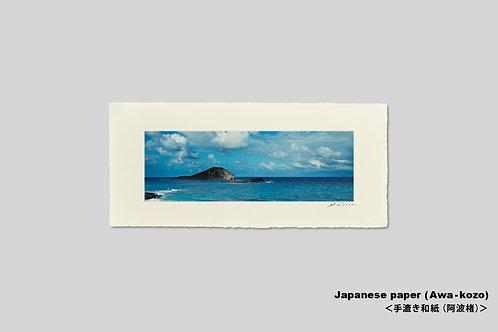 手漉き和紙,インテリアフォト,ハワイ,写真,海,南国,オアフ島,アート,壁掛け,アートポスター,おしゃれ,額装,横長,