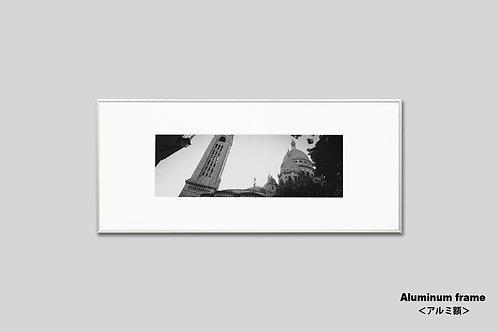 パリ,サクレクール寺院,インテリア,写真,フランス,額入り,額装,横長,オリジナルプリント,モノクロ,アートフレーム,フォトフレーム,おしゃれ,モダン,壁掛け,壁飾り,装飾,ウォールアート,新築祝い