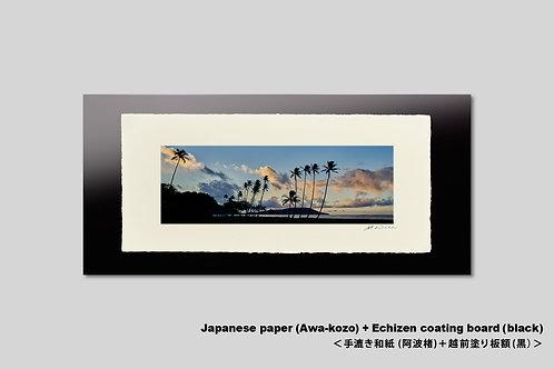 写真,ハワイ,ヤシの木,インテリア,手漉き和紙,風景,海,ビーチ,トロピカル,南国,アート,横長,壁掛け,アートポスター,おしゃれ,額装,新築祝い,プレゼント