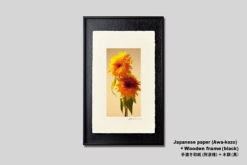 花の写真,ヒマワリ,手漉き和紙,インテリア,写真,フラワー,和室,縦型,モダン,インテリアアート,アート,額装,オリジナルプリント,アートポスター,アートフレーム,おしゃれ,壁掛け,壁飾り,装飾
