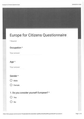 EU Questionnaire Remain OR Brexit?