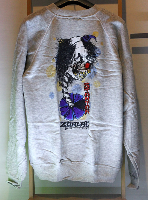 Original NOS Zorlac Stanton clown sweatshirt by Pushead