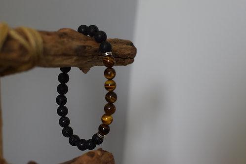 Bracelet Homme - Oeil de Tigre et Pierres de lave