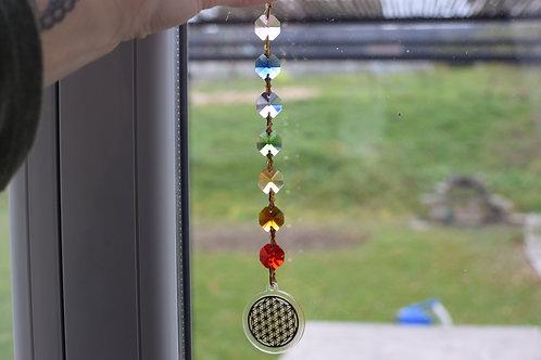 Suspension cristal Fleur de vie Feng Shui 7 chakras