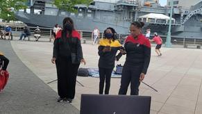 USS Gerard Holder crew broadcasting preparing to broadcast on Zoom