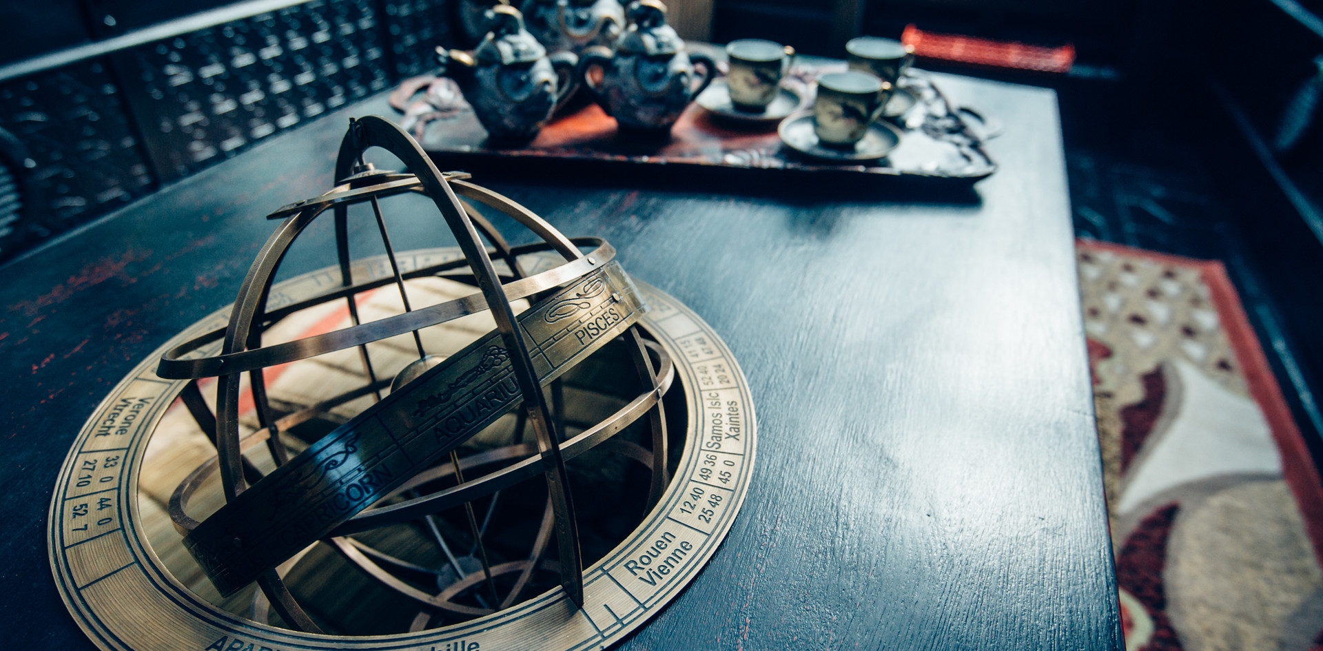 Armillary sphere opium table