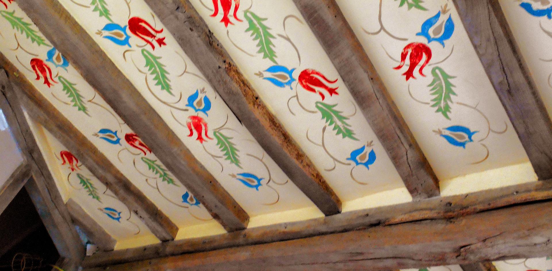 Handpainted beamed ceiling