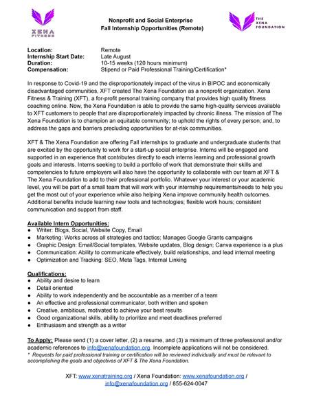 Fall Internship Opportunities
