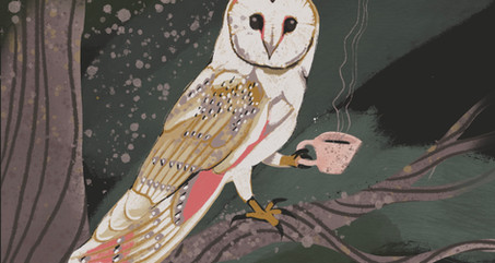 Owl Drinking Tea