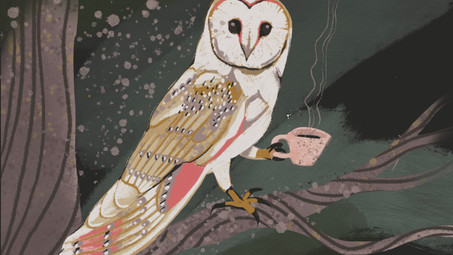 Owl Drinking Tea