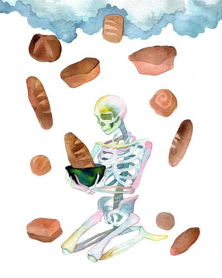 a skeleton holding a loaf of bread as bread is raining down all around original watercolor prophetic art painting