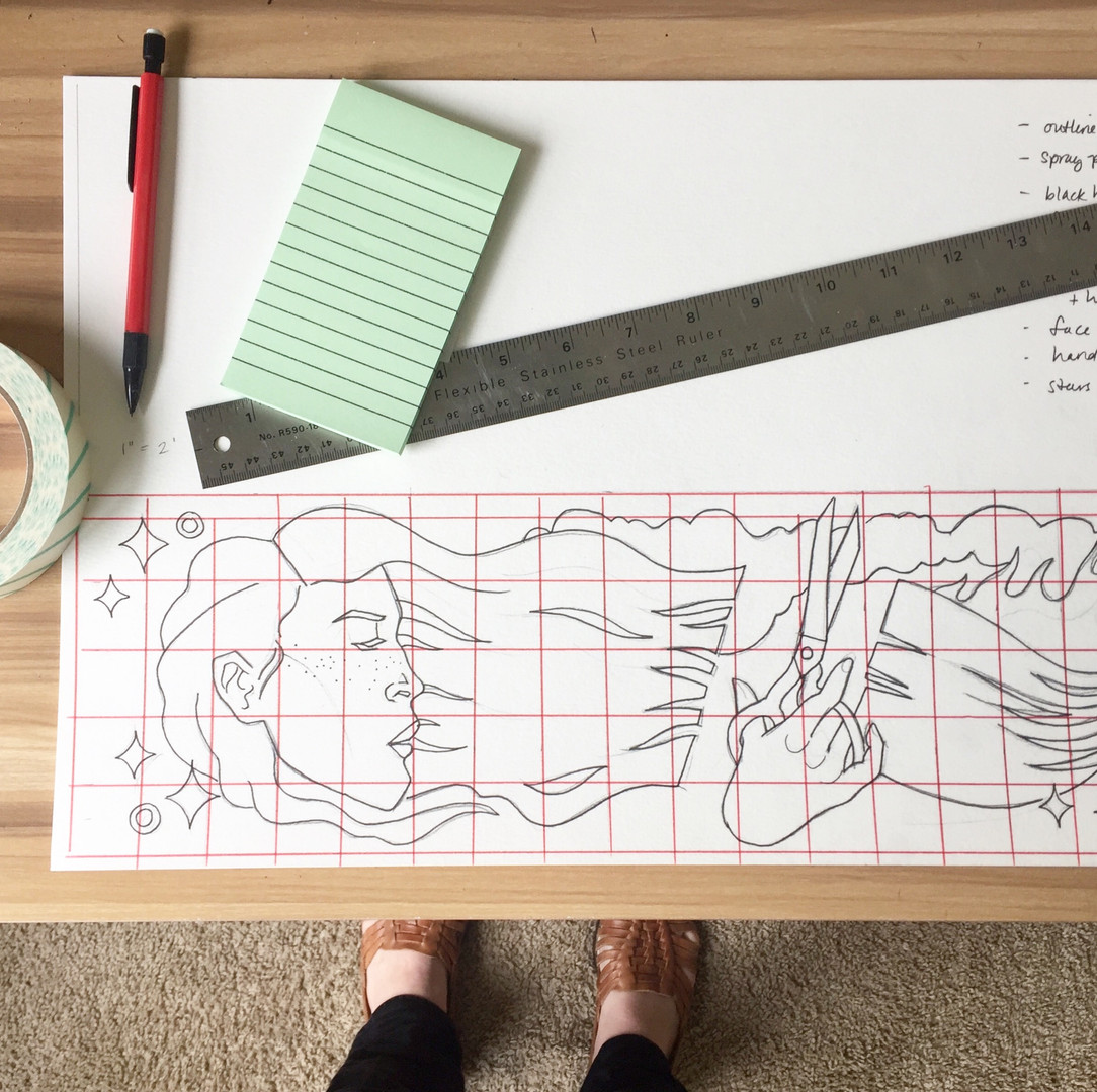 Creating a scale-grid for my mural